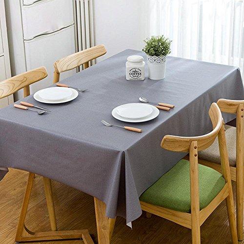 Longless nappes de couleur unie imperméable nappe en PVC anti-huile anti-chaude nappes de café de table rectangulaire 1.37 * 1.8m