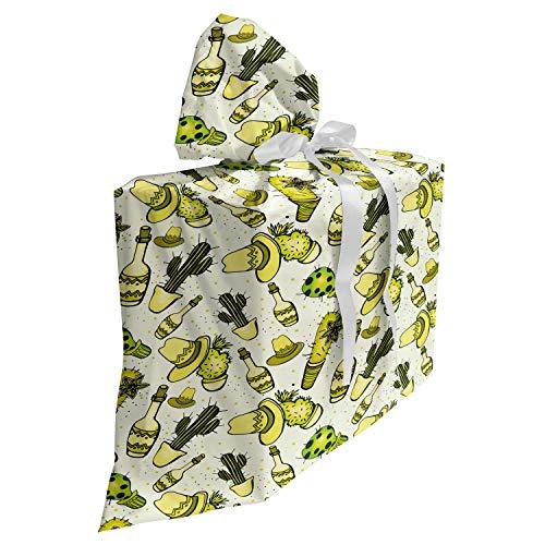 ABAKUHAUS Tequila Cadeautas voor Baby Shower Feestje, Sombrero Hoed Cactus Fles, Herbruikbare Stoffen Tas met 3 Linten, 70 cm x 80 cm, Geel Groen Geel