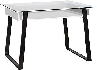 TU TENDENCIA UNICA Mesa Escritorio de Vidrio con Bandeja Blanca Fabricada en MDF Modelo Aken. Medidas: 119 x 595 x 75 cm