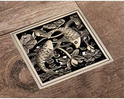 YYALL drenaje de piso baño de bronce antiguo patrón de loto de pescado latón cobre desodorante baño ducha piso drenaje para cocina balcón