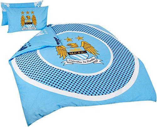 Manchester City Official Reversible Double Duvet Cover Set - Blue/White