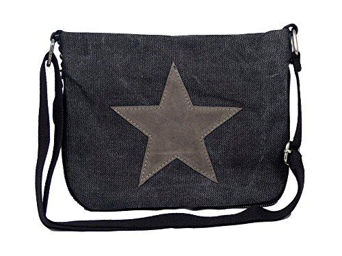 yourlifeyourstyle Bunte Umhängetasche Canvas - aufgenähter Stern - Maße 27 x 20 cm/ohne Schulterriemen - Damen Mädchen Teenager Tasche (schwarz/grau)