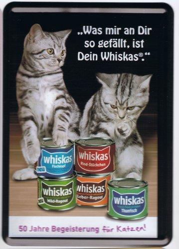 Werbeblechschild - Katzenfutter Hersteller - Blechpostkarte - was Mir an Dir gefällt - 14,5 x 10 cm