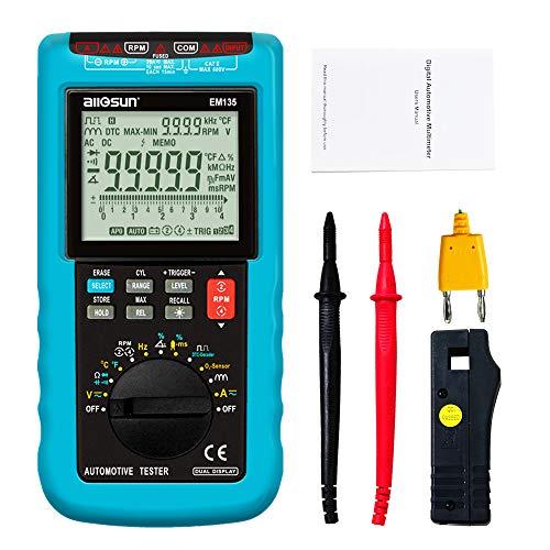 ALLOSUN Automotive Digital Multimeter 5 Digit Auto Ranging DMM RPM Automotive Diagnosis Tester EM135
