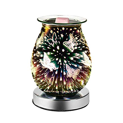 GeKLok Glass Electric Oil Burner Wax Melt Burner, 3D Butterfly Aroma Lamp Melter Fragrance Burner Warmer Romantic Atmosphere, for Decoration & Bedroom & Home