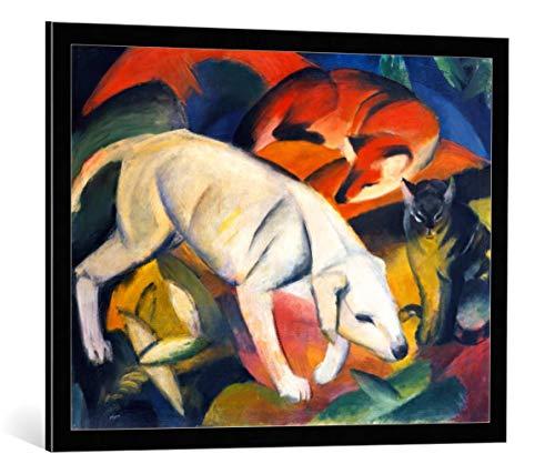 kunst für alle Bild mit Bilder-Rahmen: Franz Marc DREI Tiere Hund Fuchs und Katze - dekorativer Kunstdruck, hochwertig gerahmt, 85x65 cm, Schwarz/Kante grau