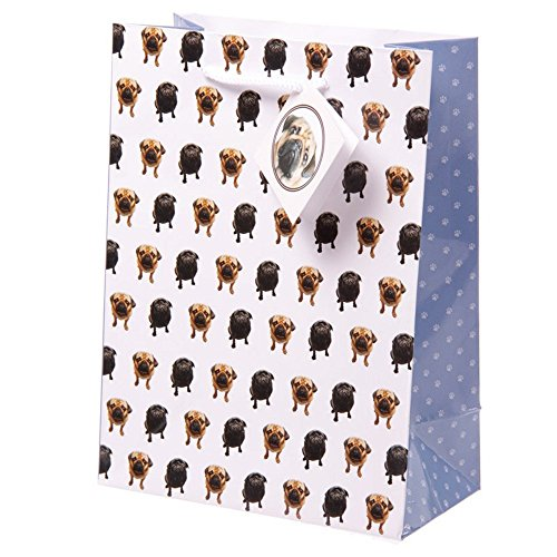 Cute Pug Design Medium Glossy Gift Bag