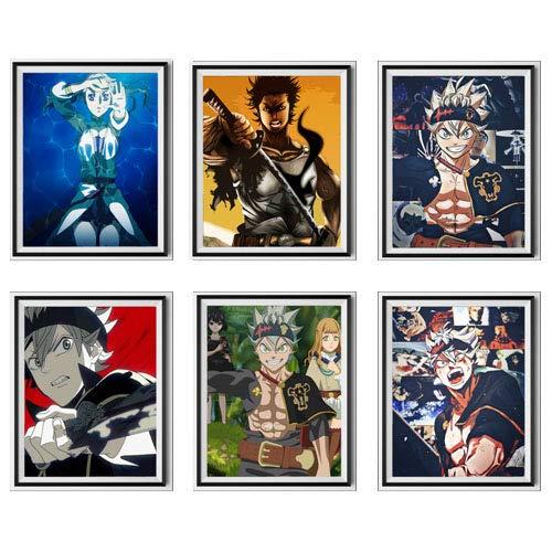 Black Clover Legend of Bounty Hunter Asta Noelle Yami Trébol Japonés Anime Lienzo impreso, 8 x 10...