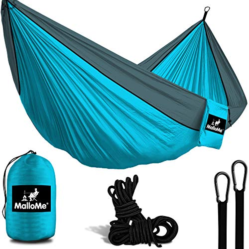 MalloMe Camping Hammock With Ropes - Double & Single Tree Hamock Outdoor Indoor 2 Person Tree Beach Accessories – Backpacking Travel Equipment Kids Max 1000 lbs Breaking Capacity - Two Carabiners Free