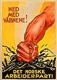 Vintage Norweger Politik Daunen mit Armen. Die Norweigan