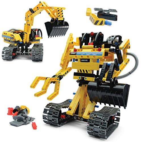 Top Race Stem Building Toys Building Set stem Kits for Boys Gift Toys for Boys Ages 5 6 7 8 9 10 11 12 13 14 Year Old and up, 2 in 1 Model Set Excavator and Robot 342 Pieces