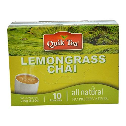 Quik Tea Lemongrass Tea 10 Pouches Made from Assam Teas All Natural No Preservatives (240 g / 8.5 oz)