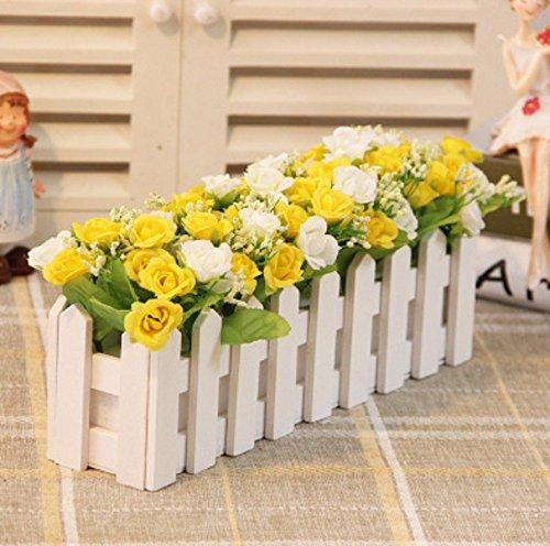 QYL houten omheining kunstbloemen pak huis decoratieve kunststof bloempot Bonsai 30 cm B