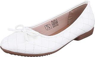 حذاء بالرينا جلد صناعي بطرف دائري وفيونكة امامية بخياطة شكل سمبوكسة للنساء من كلوب الدو - 39