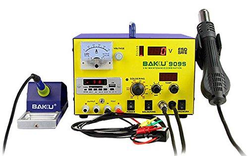 Estación Soldadura 5 en 1 500W BAKU-909S (Soldadura y Desoldadura, Precalentado, Pistola de Aire Caliente, Tecnología SMD, Potencia Máxima de 75W, Calentador de hasta 400W, LED) - Azul/Amarillo