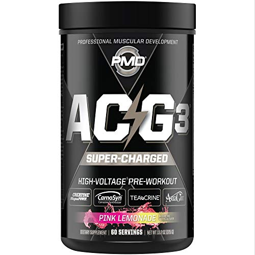 PMD Sports ACG3 Supercharged - Pre Workout Supplement Powerful Strength, High Energy, Maximize Mental Focus, Endurance And Optimum Workout Performance, Concentrated Drink Mix - Pink Lemonade - 60 Serv