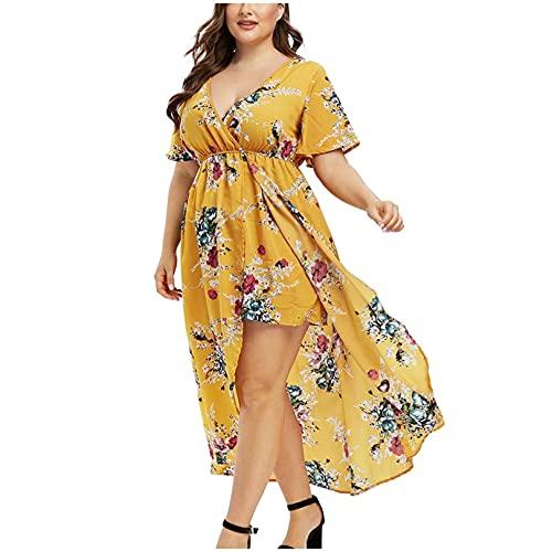 AZEWO Robe Femme Grande Taille Longue, Chic Robe Imprimée Fleurs Femmes Été Sexy Irrégulier Col V Robe de Plage Casual Decontractée pour Vacance Grande Taille Robe Longue