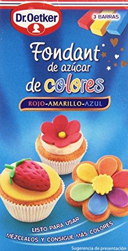 Dr. Oetker - Fondant De Azúcar De Colores - Rojo, Amarillo Y Azul, 300 Gramo