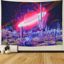 Galaxy Tapestry Trippy Planet Tapestry Psychedelic Cactus Wall Tapestry Mysterious Space Tapestry Magic Starry Stars Wall Hanging for Bedroom W59 × H51