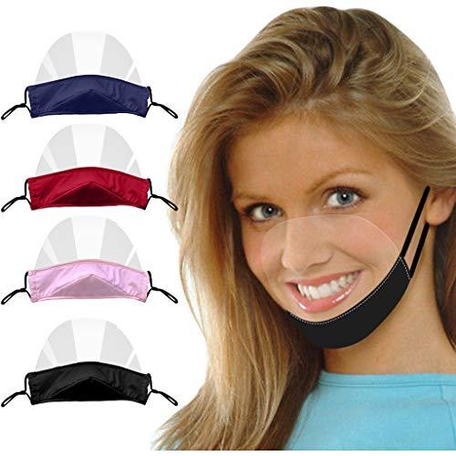Tigertrading Woohoooens in cotone lavabile in cotone tessuto moda trasparente maschera viso, multicolore, 4 pezzi