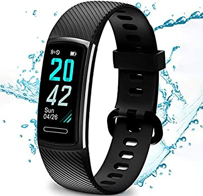 High-End Fitness Tracker HR, Activity Trackers Health Exercise Watch with Heart Rate and Sleep Monitor, IP68 Waterproof, Smart Band Calorie Counter, Step Counter, Pedometer Walking for Men Women