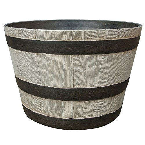 "Southern Patio 22.5"" Resin Whiskey Barrel Planter, Birchwood Grey"