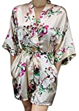 Ms Lovely Women's Floral Satin Bridesmaid Robe Short Kimono W/Pockets for Bridal Party - Champagne XS/S