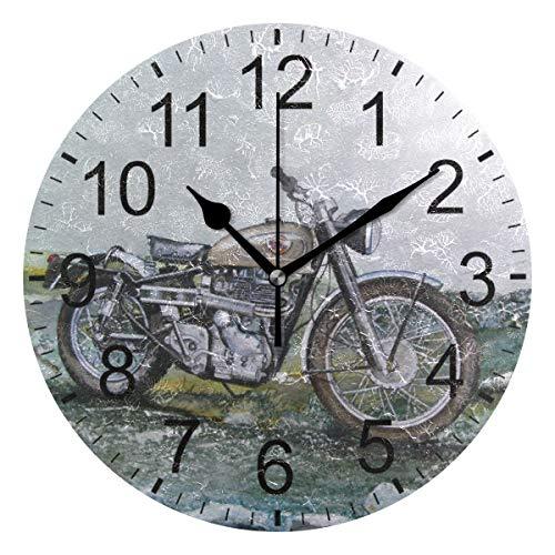 SENNSEE Retro Motorrad Wanduhr Dekorative Wohnzimmer Schlafzimmer Küche batteriebetrieben Runde Uhr Kunst für Home Decor Einzigartig