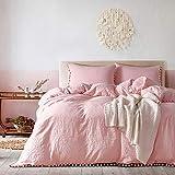 Delien Biancheria da letto in microfibra con pompon, design a nappe, 3 pezzi (1 copripiumino 200 x 200 cm + 2 federe 80 x 80 cm), set di biancheria da letto 4 stagioni, colore: rosa