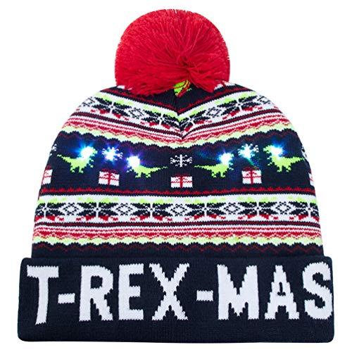 AIDEAONE Weihnachtsmützen Erwachsene Leuchten Hut LED Mütze Weihnachten Weihnachtsmann Lustige Mütze mit Licht