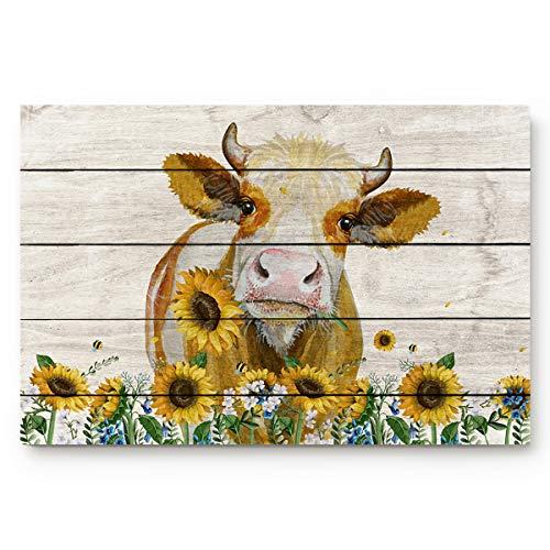 ALAGO HOME - Felpudos para puerta de entrada, diseño de vaca de campo occidental con girasol, para interiores y baños, cocina, dormitorio, entrada, antideslizante, perfil bajo