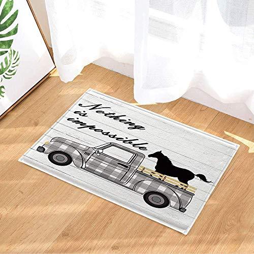 Alfombras de baño de madera estilo retro moderno con citas inspiradoras en estilo rústico de búfalo blanco y negro a cuadros, camión de granja vintage, 15.7 x 23.6 pulgadas, accesorios de baño