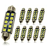 DODOFUN 41MM 42MM Festoon 211-2 569 578 6411 6000K White Extra Bright LED Bulbs for Car Interior Lights License Plate Map Dome Trunk Door Courtesy Light 10-SMD Chipset Canbus Error Free