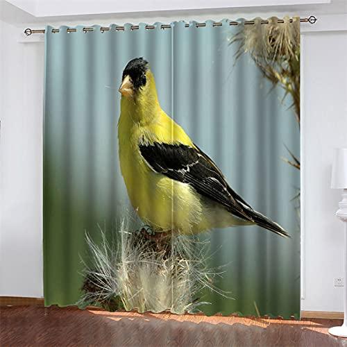 NQING Cortinas De Poliéster con Impresión Digital 3D De Sombreado Y Reducción De Ruido De La Serie Bird, Adecuadas para Sala De Estar, Dormitorio Y Cocina, con Perforaciones 2xAN117xAL229cm