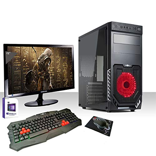 PC DESKTOP INTEL QUAD CORE CON WINDOWS LICENSE 10 PRO 64 BIT/WIFI/HD 1TB SATA III/RAM 8GB 2400MHZ /HDMI-DVI-VGA/USB 2.0 3.0/MONITOR 22 LED/TECLADO Y LED FIJADO/PC COMPLETO, OFICINA, RED, REDUCCIÓN