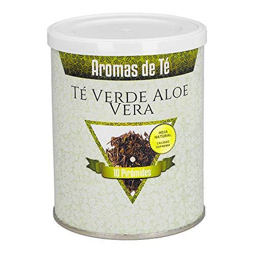 Aromas de Té - Té Verde de Aloe Vera en Bolsitas Efecto Digestivo y Aroma Fresco y Suave con Trozos de Piña Propiedades Protectoras de la Flora Intestinal, 10 Pirámides