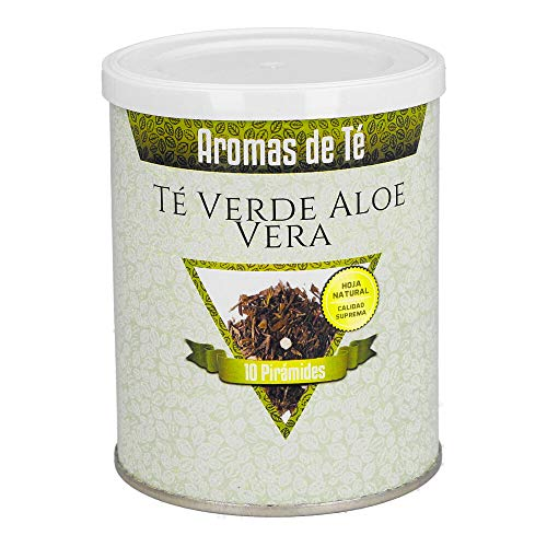Aromas de Te - Te Verde de Aloe Vera en Bolsitas Efecto Digestivo y Aroma Fresco y Suave con Trozos de Pina Propiedades Protectoras de la Flora Intestinal, 10 Piramides