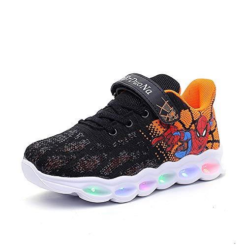 Malltea Kinder Schuhe Spiderman Light Up Schuhe Mädchen Sneaker Leichte Freizeitschuhe Laufschuhe Kinder Sneaker, Schwarz, 10.5 UK Chlid