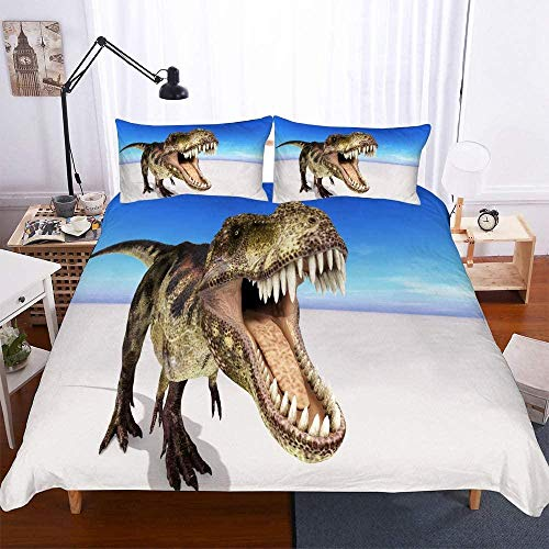 Msortatnl Duvet Cover And Pillowcases Bedding Set (Double) Sea Beach Animal Dinosaur Landscape - Single (135 X 200 Cm)