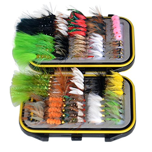 Outdoor Planet Double Side Waterproof Pocketed Fly Box Packed with 100 Assorted Dry Flies Fishing Package