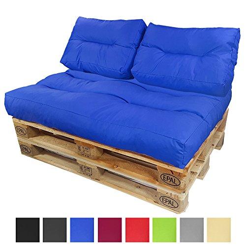 PROHEIM Cojines para palets Lounge - Cree un Elegante sofá Acolchado en Palet - Repelentes al Agua Ideal para Exteriores - (NO ES UN Set!!), Color:Azul, Variante:2 Cojines pequeños de Respaldo