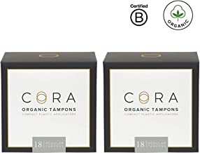 Cora Organic Cotton Tampons with BPA-Free Plastic Compact Applicator; Chlorine & Toxin Free - Regular (36 Count)