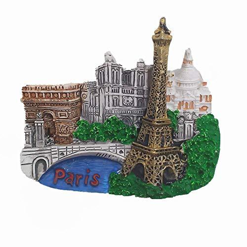 "Calamita da frigo 3D con scritta in lingua inglese ""Parigi Francia"""