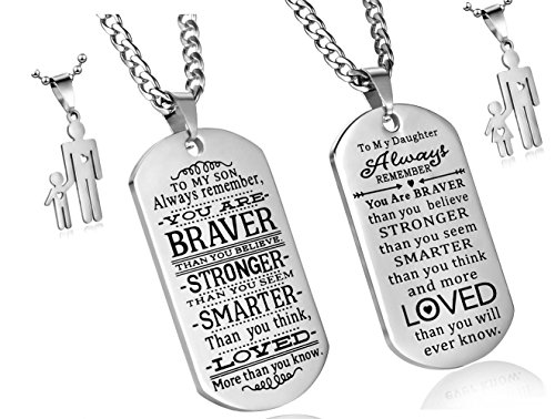 Pack of 2 To My Son To My Daughter Always Remember You Are Braver Than You Believe Quotes Dog Tags Pendant Necklace Love Gift