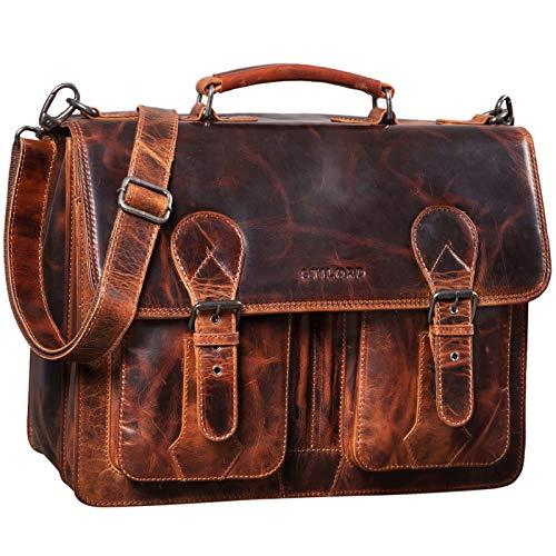 STILORD 'Kronos' Aktentasche Leder Herren Lehrertasche Leder-Tasche Büro Business groß Arbeitstasche Umhängetasche Vintage Echtleder aufsteckbar, Farbe:Milano - braun
