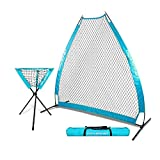 PowerNet 7 Foot Portable Pitching Screen A-Frame + Ball Caddy Bundle | Baseball Pitcher Protection | Instant Player and Coach Protector | Heavy Duty Netting | Batting Practice | Team Color Sky Blue