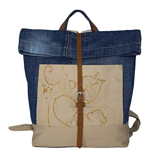 Rucksack Mädchen & Damen Schultasche aus Jeans upcycling & handgemacht Blau & Beige Nachhaltiger Tagesrucksack mit Stickrei