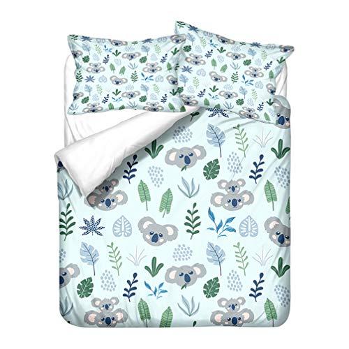 WENYA 3D Tiere Cute Koala Bettwäsche-Set Mikrofaser Cartoon Schön Weiß Grün Blau Bettbezug und Kissenbezug Kinder Jungen Mädchen (Stil 4, 155x220 cm + 80x80 cm*2)