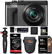 Panasonic Lumix ZS70 20.3 Megapixel, 4K Digital Camera, Touch Enabled 3-inch 180 Degree Flip-Front Display, 30X Leica DC Lens (Silver) + DMW-ZSTRV Battery Charger + Lexar 32 GB Card + Tabletop Tripod