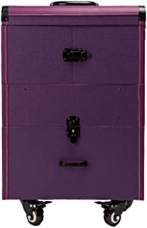 L.TSA Cosmetic Case Trolley Toolbox Multi-Layer Professional Universal Wheel Makeup Half-Product Storage Box,Purple